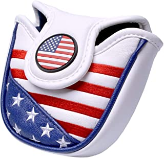 GOOACTION Golf Head Covers for Driver/Hybrid/Fairway Wood/Mallet Putter Cover American USA Flag Pattern Patriotic Synthetic Leather Headcover