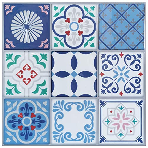 Art3d- Paquete de 5 Azulejos de Azulejos para despegar y Pegar, 30x30cm, baldosas mexicanas EVA Talavera (diseño más Grueso)
