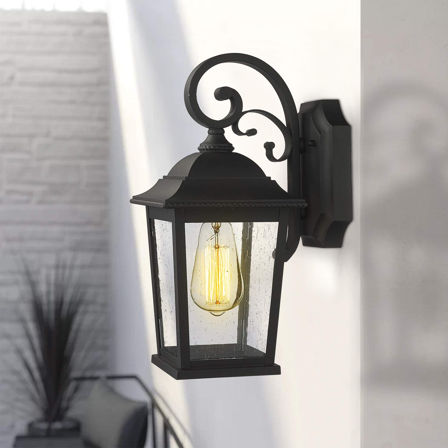 Emliviar Outdoor Wall Lantern Sconce 15 Inch Exterior Wall Lights Modern Design Black Finish With Seeded Glass De19105b1 Bk