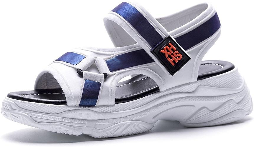 GAOLIXIA Chaussures pour Femmes Sandales en Cuir rétro Plate-Forme Sandales de Sport en Plein air Velcro Plat Chaussures décontractées Noir Blanc Grande Taille 40,41,42