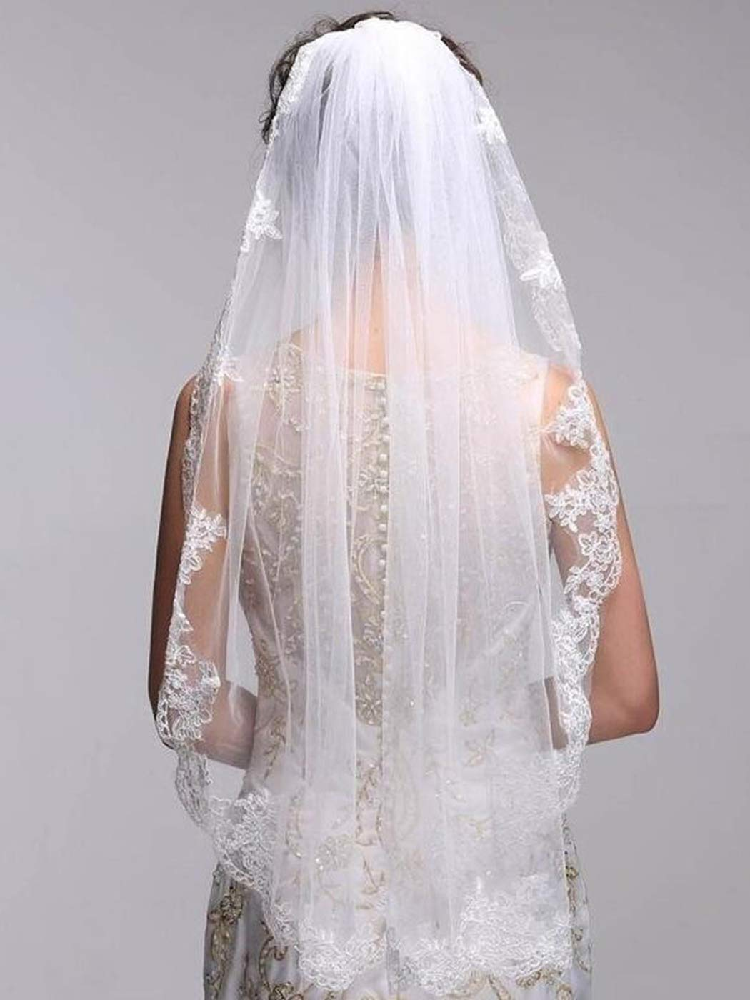 Clairy Bride Wedding Veil Lace Bridal Veils Bridal Tulle Headpieces White Short Hair Jewelry Veils with Cute Edge