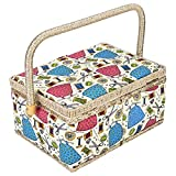 Sewing Basket,3 Colors Handmade Wood Storage Basket Fabric Crafts Sewing Kit Storage Box with Handle and Removable Tray for Sewing Accessories(3)