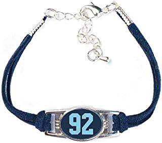 AttitudeArcade Number Charm Bracelet (00-99) Jersey Style in Team Colors (Navy Blue & Light Blue)
