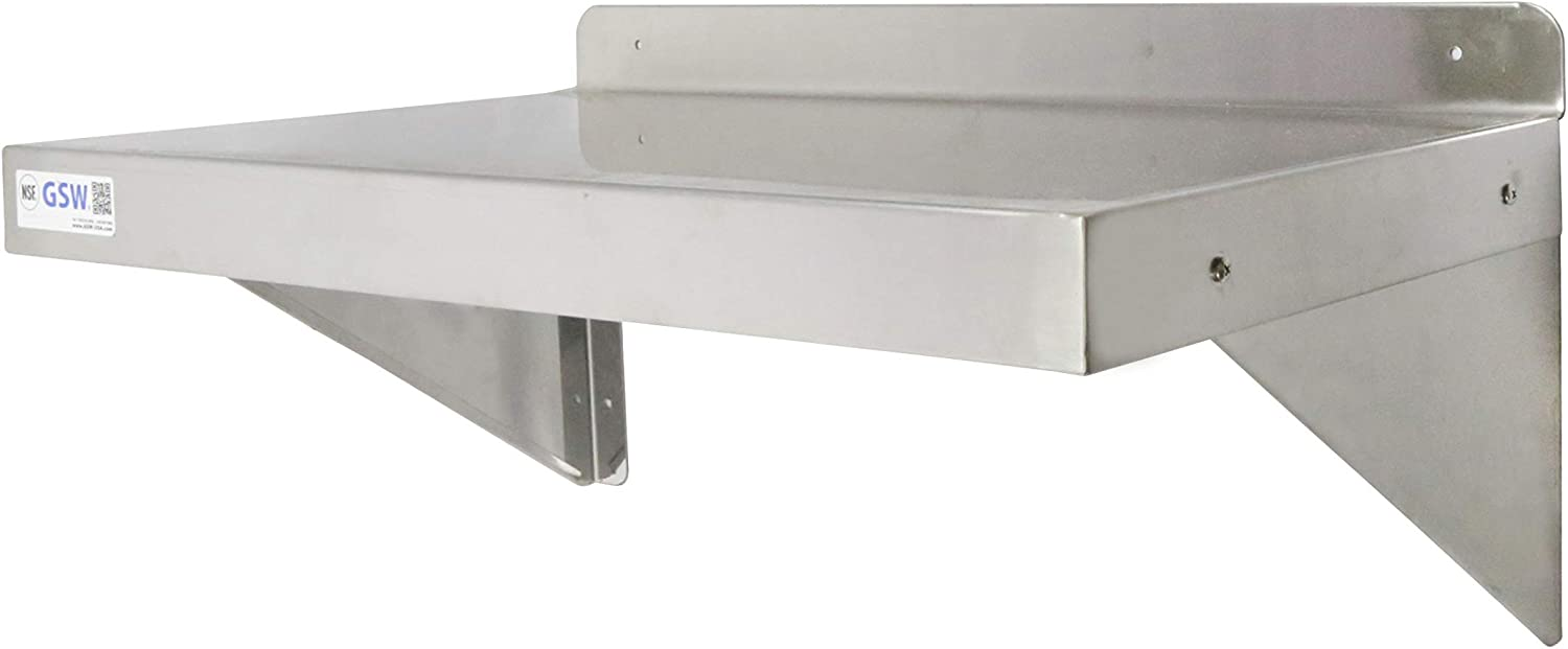 GSW Stainless Steel Commercial Wall Mount Shelf 12 (Depth) x 24 (Width) NSF Approved