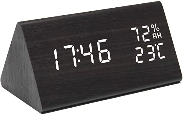 Perfeo Wooden Digital Alarm Clock With Time Date And Temperature Display Wood LED Clock With 3 Levels Brightness 3 Alarm Settings And Sound Control For Kids Bedrooms Home And Dormitory