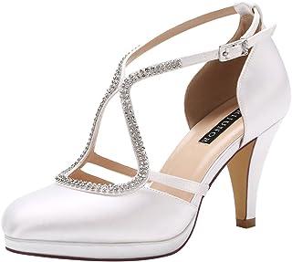 c27da02187d ERIJUNOR Women Comfort Low Heel Closed-Toe Ankle Strap Platform Satin Bridal  Wedding Shoes
