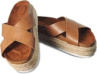 Amasha Womens Espadrille Platform Slide Sandals Slip On Flatform Cross Strap Summer Flats Shoes