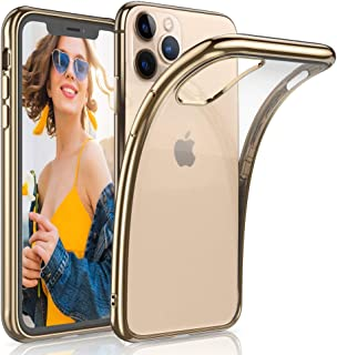 LOHASIC iPhone 11 Pro Case, Clear Thin Slim Transparent Back Cover Soft Flexible TPU Bumper Non-Slip Grip Full Body Shockproof Protective Cases Compatible with Apple iPhone 11 Pro 5.8 inch (2019)-Gold
