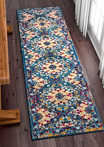 "Well Woven Suzani Boho 2x7 (2'3"" x 7'3"" Runner) Area Rug Garden Blue & Yellow Distressed Traditional Vintage Floral Oriental"