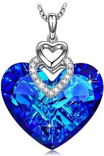 colgante aguamarina en forma de corazon