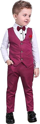Nwada Trajes Niño Pequeño Ropa Bautizo para Vestir Disfraz Boda Conjunto Ceremonia Camisas y Pantalones y Chaleco y P...