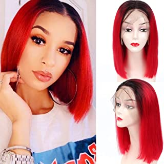 13X6 Ombre Red Color Short Bob Wigs for Black Women 150% Density Silky Straight Lace Front Wigs Human Hair Pre Plucked Glu...