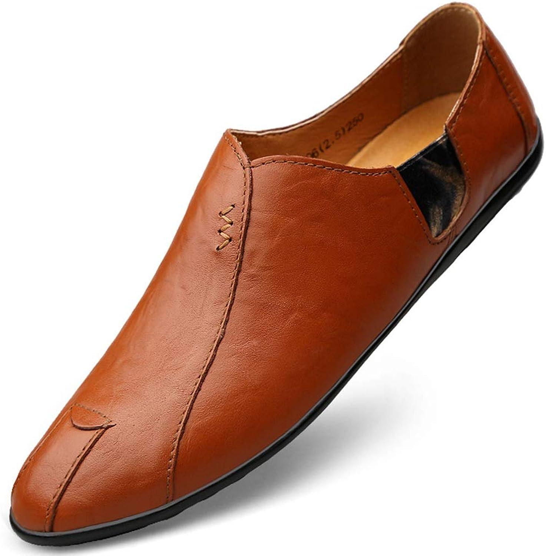 Mans skor 2019 sommar ny Business Casual skor Mode Set Foot skor Korean Version of The Trend skor herrar One Pedal Driving Soft läder Lazy skor män (Färg  orange, Storlek  41)