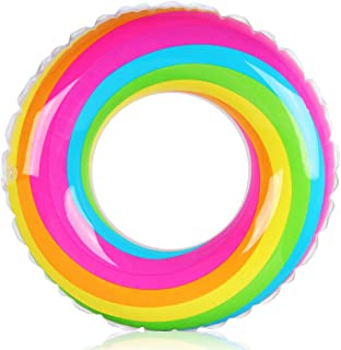 Coogam Rainbow Swim Ring Whirl Tube Color Pool Float Inflatable Rubber Inner Tubes Water Donut Rafts