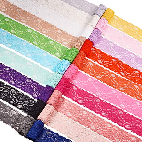 BENECREAT 20 Yards 2 Inch Elastic Lace Fabric Stretch Floral Pattern Trim Ribbon for Headbands Garters Wedding Bouquet Making - 20 Colors, 1 Yard Per Color