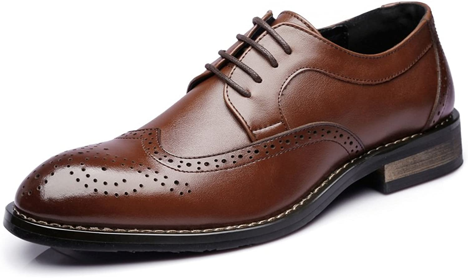 IWGR Sautope Basse da Uomo Basse da Lavoro Matte Hollow autoving   Pelle Lace up Fodera Traspirante Oxford con Lacci (Coloree   Marronee, Dimensione   29CM)