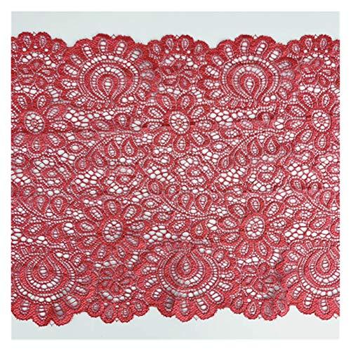 DJNCIA Hermosamente 3 Metros 22 cm Tela de Encaje elástica Blanca Francesa Hollow Ropa Interior Estiramiento Cordón DIY French Hollow Ropa Interior para decoración de Costura Artesanal, (Color : Red)
