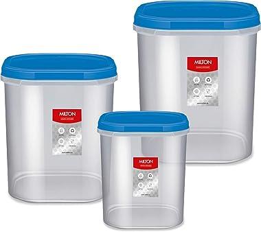 MILTON Plastic Kitchen Jar Set - 6L, 8L, 12L, Set of 3, Transparent