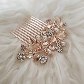 Wedding Hair Comb for Brides, Bridesmaids - Crystal and Simulated Pearl Rose Gold Bridal Hair Accessories for Women