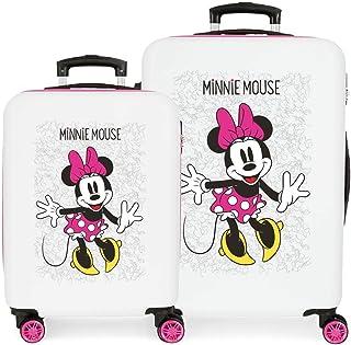 Disney Minnie Enjoy The Day Juego de Maletas Blanco 55/68 cms Rígida ABS Cierre combinación 104L 4 Ruedas Dobles Equipaje ...