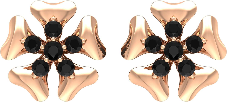 1/2 CT Created Black Diamond Cluster Floral Stud Earrings,14K Rose Gold,Lab Created Black Diamond