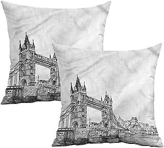 Khaki home Vintage Square Body Pillowcase Tower Bridge UK Scenery Square Body Pillowcase Cushion Cases Pillowcases for Sofa Bedroom Car W 14