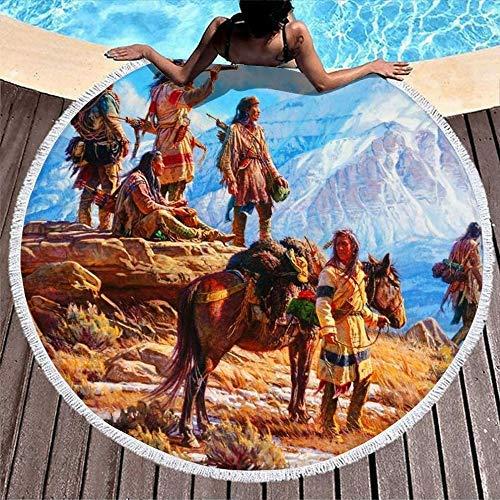 Serviettes de Plage Native American Tribe Mountain Painting White Serviette de Plage Ronde à séchage Rapide Serviettes de Bain sans Sable pour Bain/Piscine/Plage/Pique-Nique