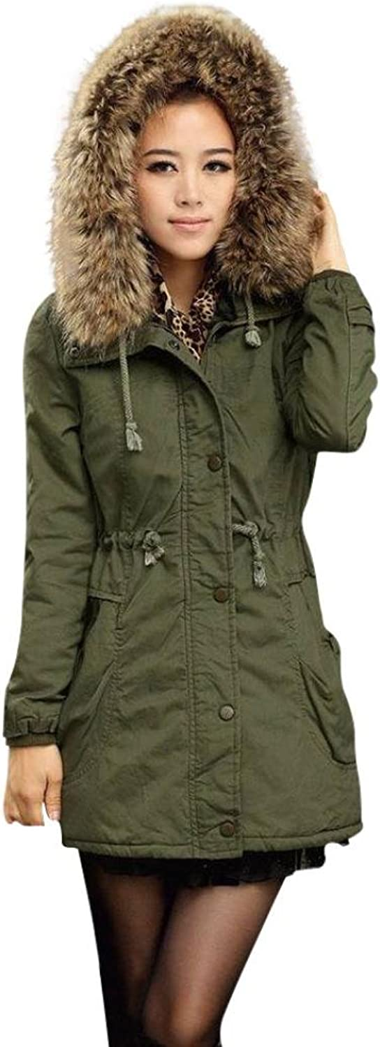 ManxiVoo Winter Jacket, Ladies Hooded Coat With Girdle Thicken Long Parka Outwear