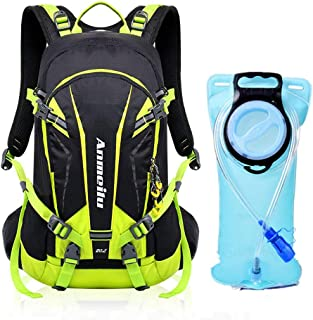 Hydration Backpack with 2 Liter Bladder and Long Drinking Tube/Mouthpiece | Detachable Phone Pocket, Multiple Compartments, Whistle, Helmet Net and Waterproof Cover | Cycling, Hiking, Biking and Climb