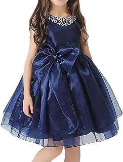 ドリーム企画 子供ドレス 発表会 d-005r ダブルリボン パニエ内蔵 紺 大きなリボン 上質なオーガンジー素材5枚重ねドレス