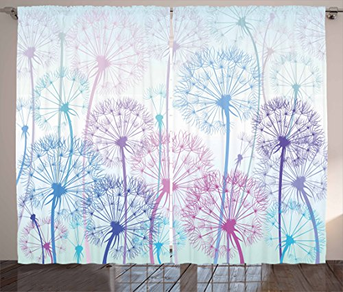 Ambesonne Dandelion Curtains, Watercolor Abstract Floral Arrangement with Botany Inspirations Nature, Living Room Bedroom Window Drapes 2 Panel Set, 108' X 90', Blue Pink