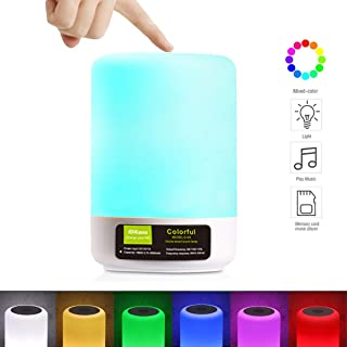 DIKAOU Touch Bedside Lamp with LED Bluetooth Speaker, Dimmable Warm White Table Lamp& RGB Color Changing Children Night Light, Best Gift for Teens Men Women Kids Sleeping Aid-White