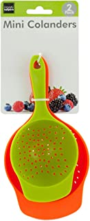 Brandobay Plastic Mini Colanders Set 2 Pack Kitchen Mesh Food Strainers Colander Handles Harvest Baskets Red Lime Green 6.5 and 7.5 Inch Strainer For Pasta Vegetables and Fruits