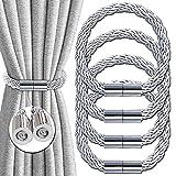 Magnetische vorhang raffhalter, Kreative raffhalter für vorhänge, Schnallen Vorhangbinde Seilrücken Vorhanghalter, starken haltbaren gardinen raffhalter, für Heim Dekoration 4 Stücke (silber)