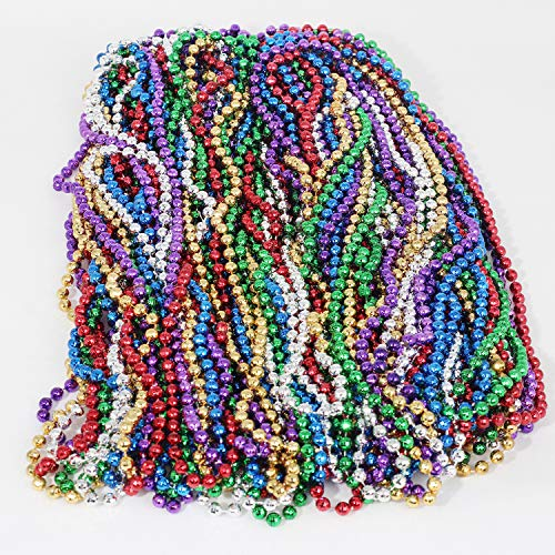 LittleBoyny Environmentally Friendly Necklace 33 inch 0.7mm Metallic Multi Colors Mardi Gras Beads Beaded Necklace (72Pcs)