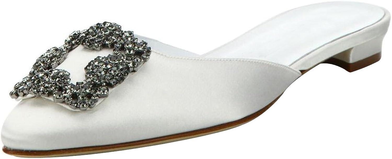 Kmeioo Mules for Women,Womens Satin Rhinestones Mule Flats shoes Pointed Toe Jeweled Embellishment Mule Slides