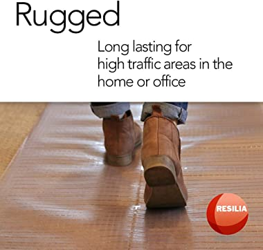 Resilia - Clear Vinyl Plastic Floor Runner/Protector for Deep Pile Carpet - Skid-Resistant Decorative Pattern, (36 Inches Wid