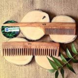 UCS Neem Wood Hair Combs for Thick, Curly Hair - Set of 2