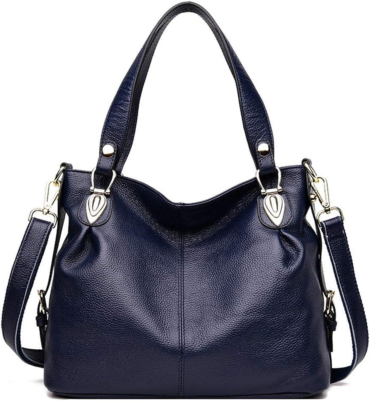 NZZNB Women's Bag Large-Capacity Pure Leather Handbags European Fashion Lychee Pattern Solid color Charm Temperament Wear Multi-Pocket Handbag Top-Handle Handbags