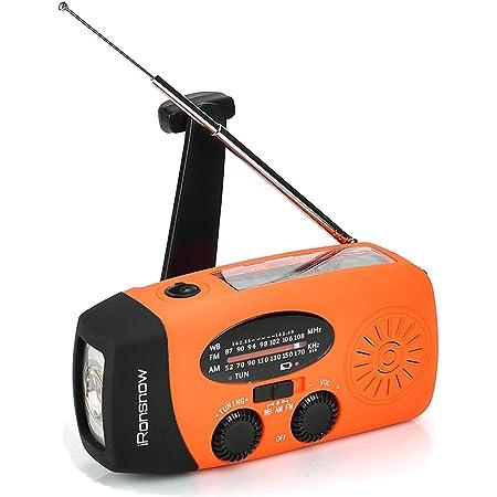 Orange 2000mAh Power Bank and SOS Alarm Charging Indicator iRonsnow Emergency Solar Hand Crank NOAA Weather Radio with AM//FM