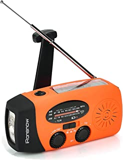 (Upgraded Version) iRonsnow Solar Emergency NOAA Weather Radio Dynamo Hand Crank Self Powered AM FM WB Radios 1 LED Flashl...