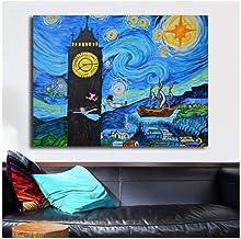 XIANGLL Cuadro En Lienzo,Big Ben Starry Night Peter Pan Neverland Lienzo Carteles Impresiones Arte de la Pared Pintura Imagen Decorativa Decoración para el hogar HD-50x70cm
