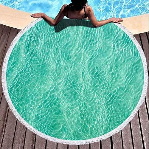 Toallas de playa redondas para adultos, agua turquesa cerca de la arena formando muchas pequeñas olas que reflejan el sol, Tailandia 152 x 152 cm, linda toalla de playa para niños, mujeres y niños