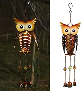 Docooler Solar Powered Owl Wind Chimes Light Outdoor Hanging Lamp IP44 Water-resistant Metal LED Decorative Light for Gard...