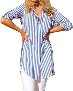 4fa7c57848d906 NPRADLA 2018 Damen Mode Gestreifte Langarm Knopf Taschen lose beiläufige  Bluse Shirt Tops