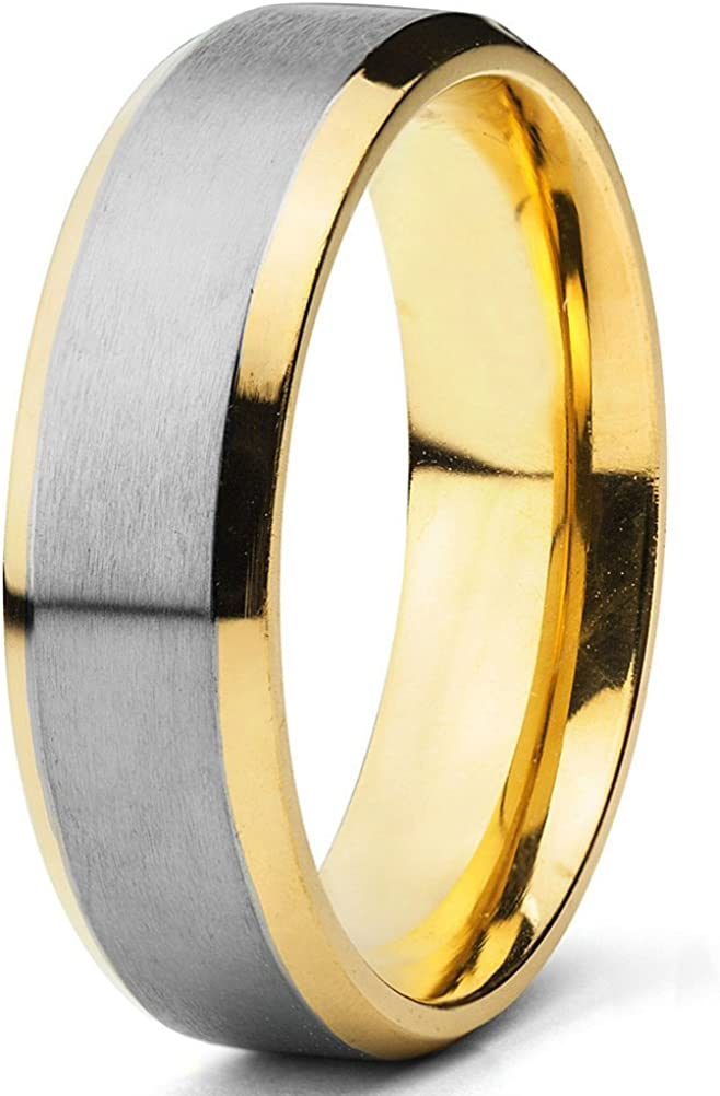 Engagement Rings for Men Titanium Gold Plated Wedding Fashion Jewelry Two-tone Band (6.5mm)