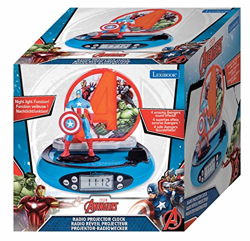 Lexibook Marvel Avengers Iron Man Radio réveil projecteur, Veilleuse intégrée, projection de l'heure au plafond, effets sonores, à piles, Rouge/Bleu, RP510AV