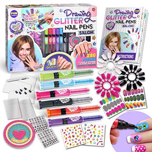 Kids Nail Art Polish Drawing Pens Kit, FunKidz Ultimate 280Pcs Nails Glitter Set For Girls Glow In...