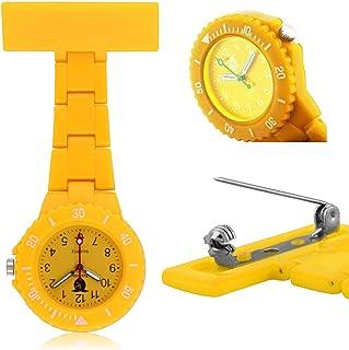 ZGMCGD Coloured Plastic Nurses Watch Fob Watch Brooch Waterproof Ladies Nurse. (Color : Yellow)