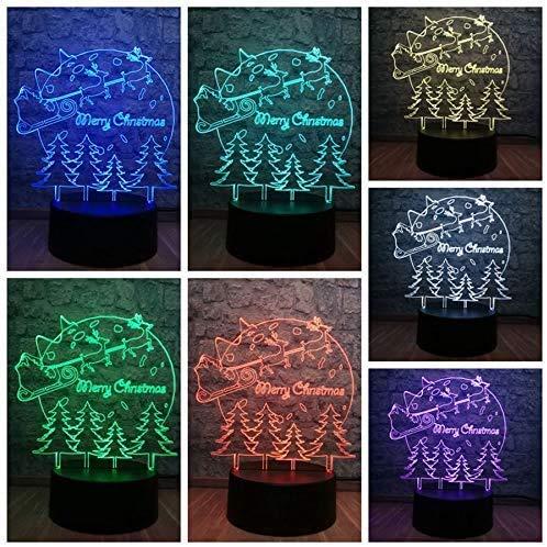Night Light Toys Illusion Lamp Merry Christmas Deer Tree 3D LED Lamp 7 Color Change RGB Lighting Kid Baby Room Sleep Night Light Illusion Decor Effect USB